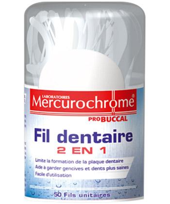 Mercurochrome Fil dentaire 2 en 1