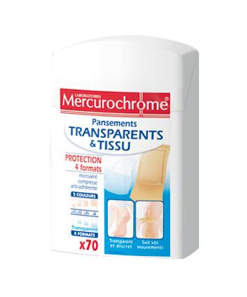 Mercurochrome Pansements Transparents et Tissu